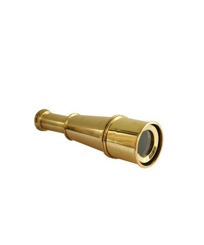 "$28.00   Small Brass Telescope   extends and focuses into view   brass sun shield extends 2 inches off lens   8x magnification   measures 7.5"" long"