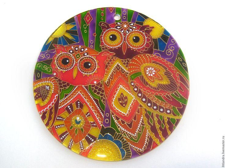 Купить Ловец солнца Совы Витражная роспись по стеклу - эксклюзивный подарок, точечная роспись