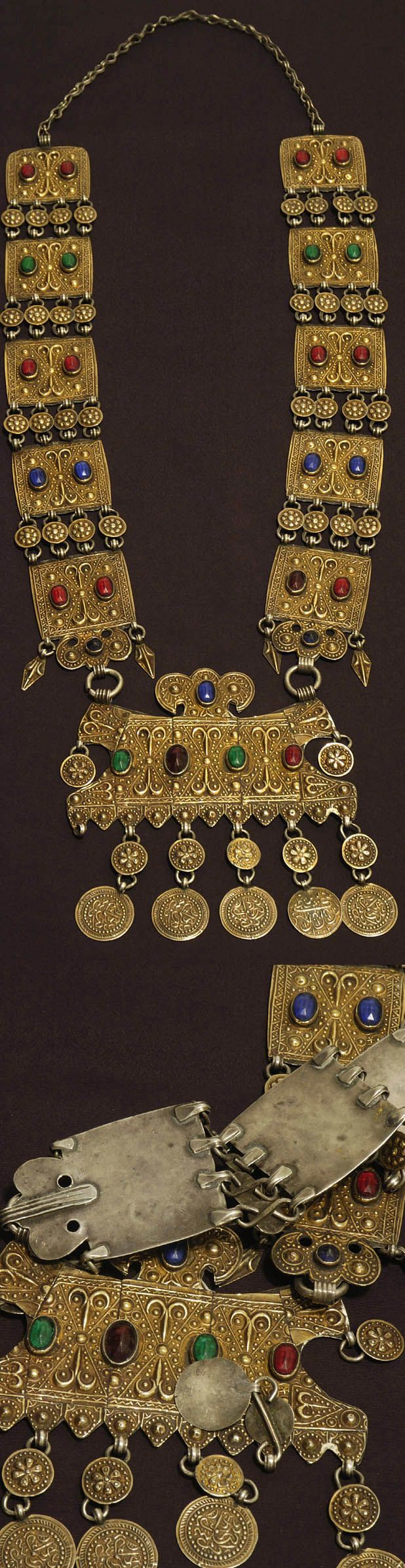 Central Asia | Silver gilt and glass necklace from the Ersari Turkmen people | ca. 1910