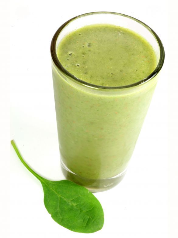Skinny Banana and Spinach Protein Shake   My sister in law turned me onto something called a Monster Drink. I was afraid at first, even though I am a health nut, of what a drink would taste like that was filled with that many veggies. It really wasn't that bad but it sure was powerful and it really made me hold my nose and jump up and down with the POW of flavor. So I decided that I still want to have a healthy green drink but something I could drink and enjoy without the POW.