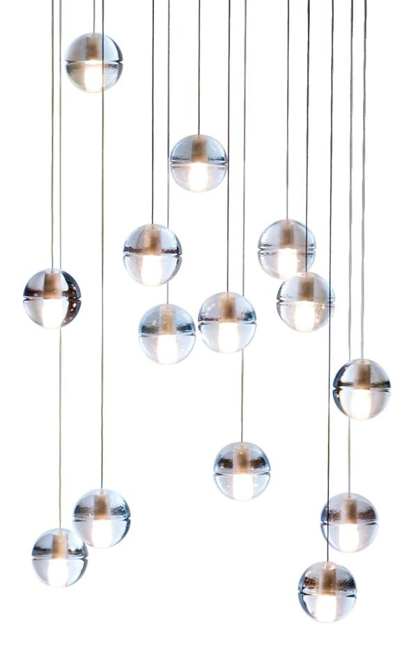 LED Spheres In This Light Fixture Can Be Configured Into Round Or Square Base Chandelier Via Headphone Jack Connection