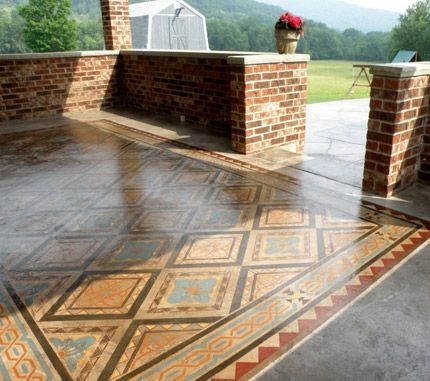 Stained Colorful Decorative Concrete Porch Patio Floor Faux Carpet Rug    Modello Custom Vinyl Stencils For Painting