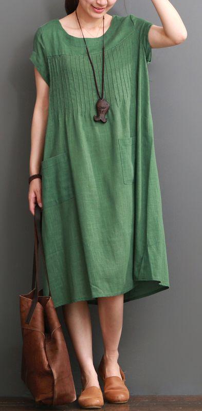 Green summer cotton dress plus size cotton maxi dresses