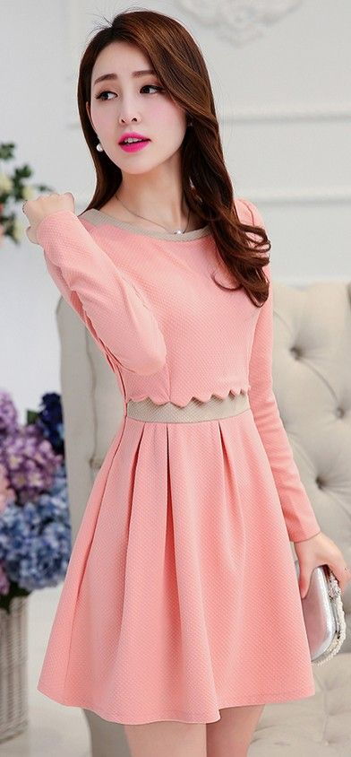 Adorable fake two parts dress YRB0743