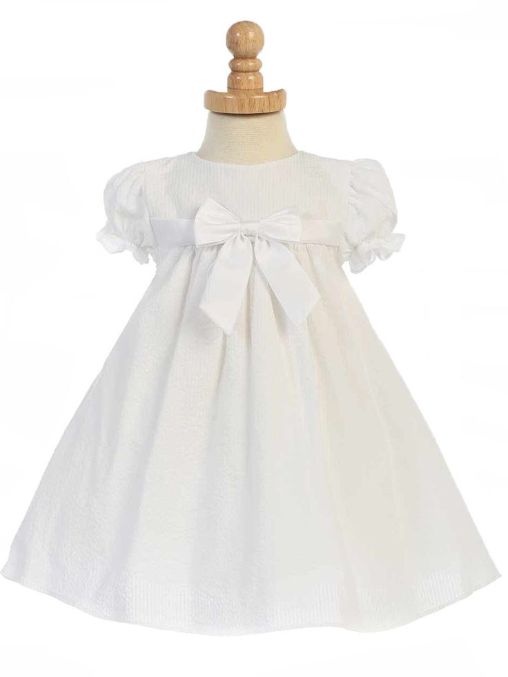White Striped Cotton Seersucker Cap Sleeved Dress Style: LM659 💟$194.99 from http://www.www.paraprinting.com   #mywedding #seersucker #striped #wedding #sleeved #dress #cotton #weddingdress #bridalgown #style: #white #bridal #cap