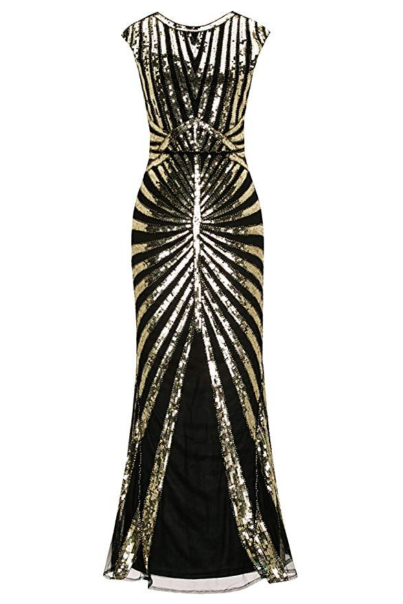 566e857c3722d Amazon.com: Metme Formal Evening Dress 1920s Sequin Mermaid Formal Long  Flapper Gown Party: Clothing