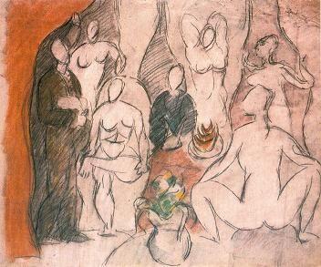 Demoiselles d'Avignon - voorstudie 1. Horizontaal, verhalend. Eros en tanatos (=dokter voor overlijdens binnen bordeel). Naamgeving door collega's Picasso.