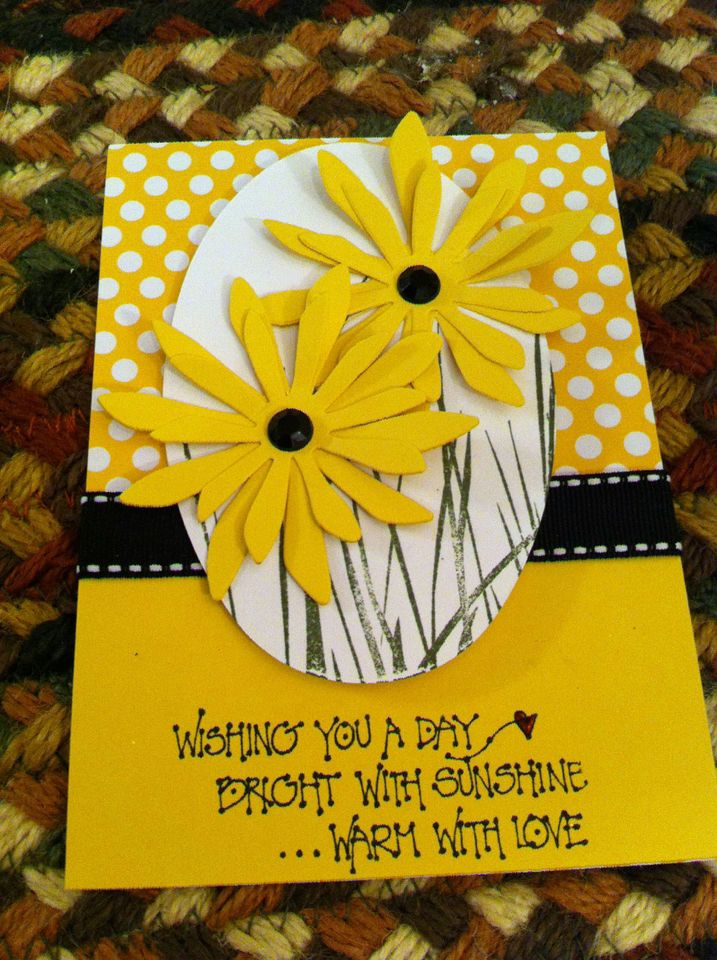 Stampin Up Daffodil Delight Daisy black eyed susan card kit oval back to nature