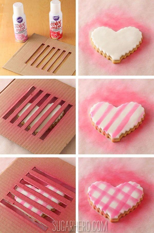 Brown Butter Heart Cookies via SugarHero.com -- Need to try the DIY airbrush!