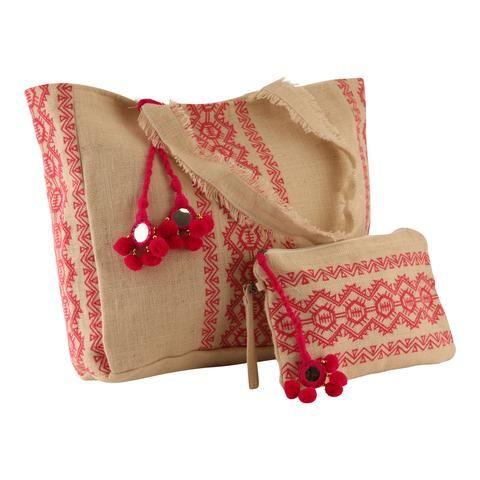 Palms & saco de férias de areia saco de praia e conjunto de embreagem Capri coleção natural