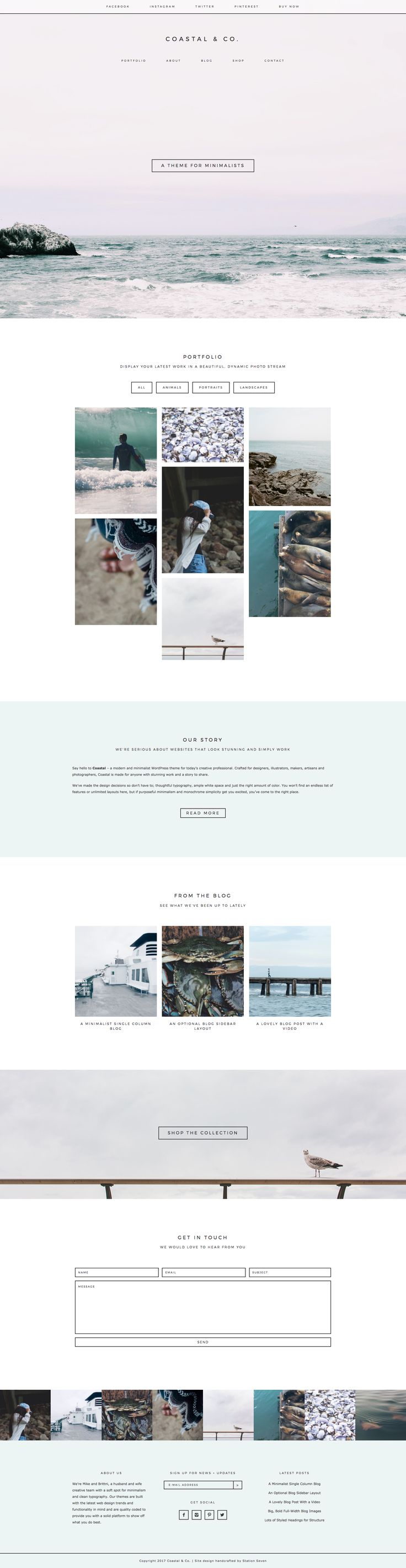 Say hello to Coastal 2.0 - a modern and minimalist WordPress theme for today's creative professional. Crafted for designers, makers, artisans and photographers, Coastal is made for anyone with stunning work and a story to share. We've added lots of great options, including a secondary sticky nav, portfolio category sorting, WooCommerce compatibility, a full-width Instagram footer and more.