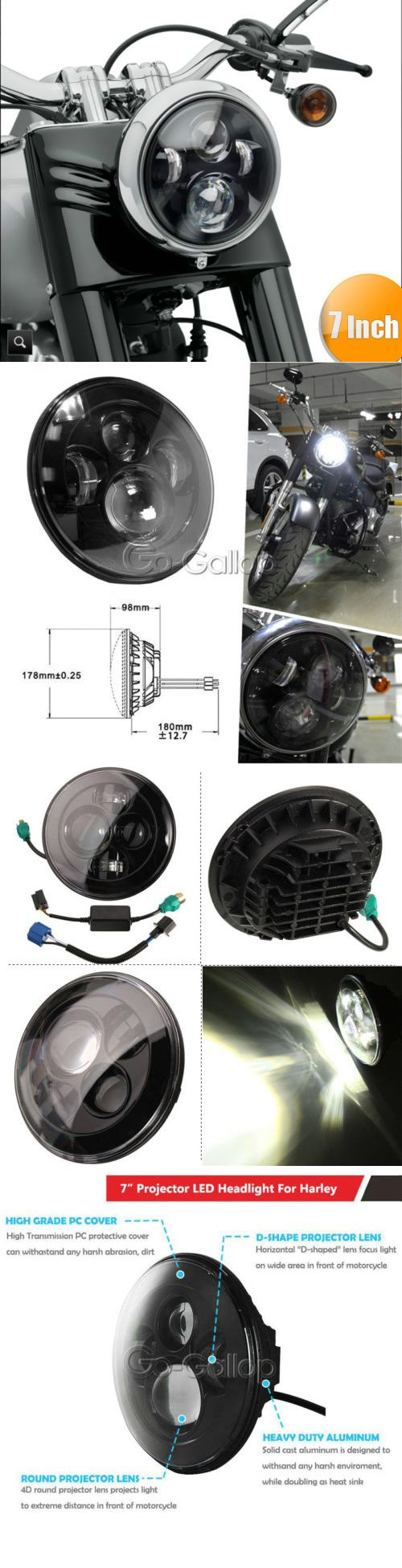 motorcycle parts: 7 Led Projector Daymaker Black Headlight Fit Harley Street Glide Softail Flhx -> BUY IT NOW ONLY: $44.95 on eBay!