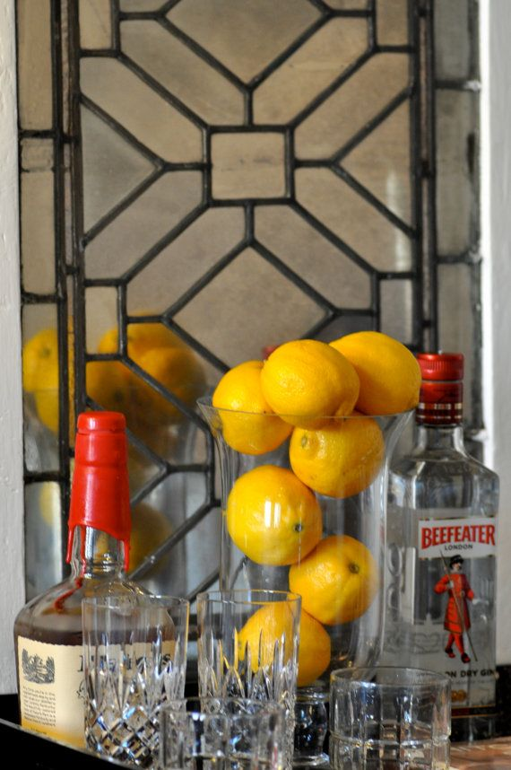 Vintage window mirror bar tray inspiration