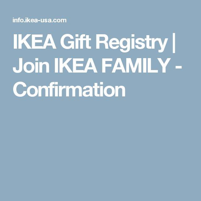 IKEA Gift Registry | Join IKEA FAMILY - Confirmation