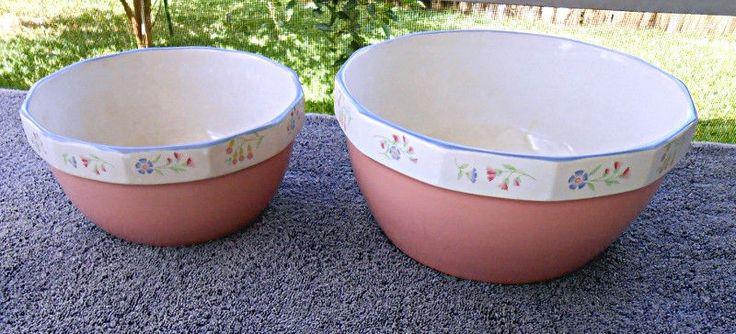2 VTG Shabby PINK Mixing Bowls Victorian Flowers by Sarma Studios Japan Nice! #SarmaStudios
