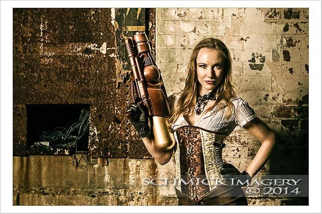 Steampunk steam punk corset glove white tan brown gold bronze gun prop gloves leather suede brocade cream attitude woman lady female lean sleek toned slim ocf 7d canon SchMick imagery book cover bookcover brisbane harper Collins del ray delray weapon lazer ray hair yes lips mu makeup