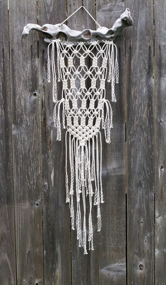ONE OF A KIND Macramé Wall Hanging on Drift Wood by FreeCreatures