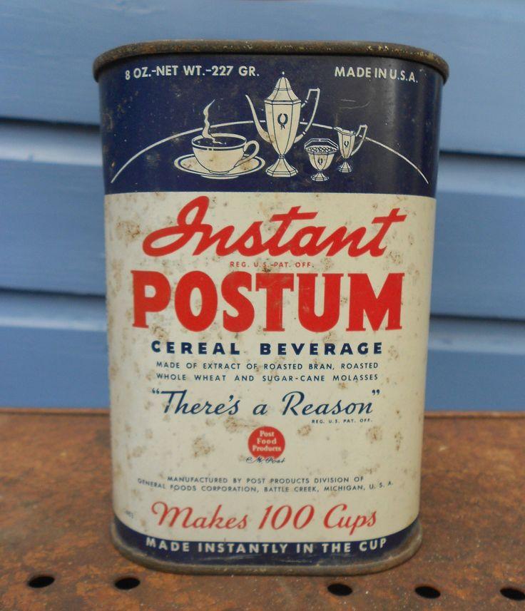 Antique Tin Postum-- Grandma Alta loved this stuff.  I do too.