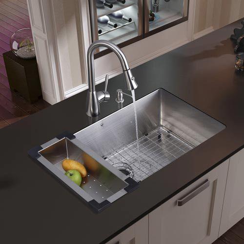 vigo industries undermount stainless steel kitchen sink, faucet, colander, grid, strainer and dispenser