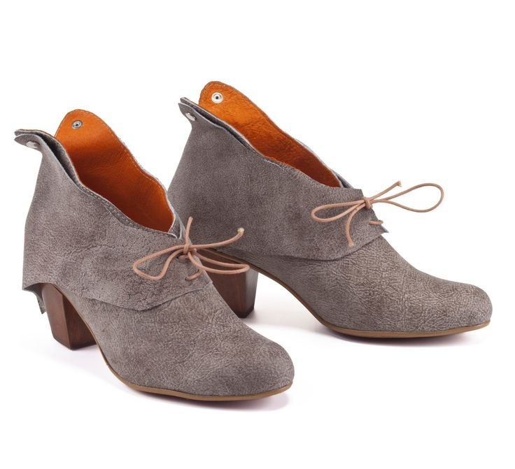 Stone Leather Booties / Women Taupe High Heels Boots / Caual Shoes / Lacing Shoes / Winter Booties / Leather Shoes / Wood Heel Shoes- Alpha