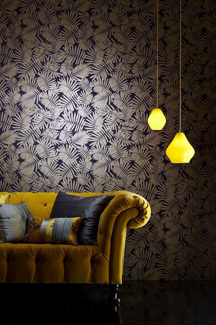 Fern leaf wallpaper design with a raised texture metallic effect.
