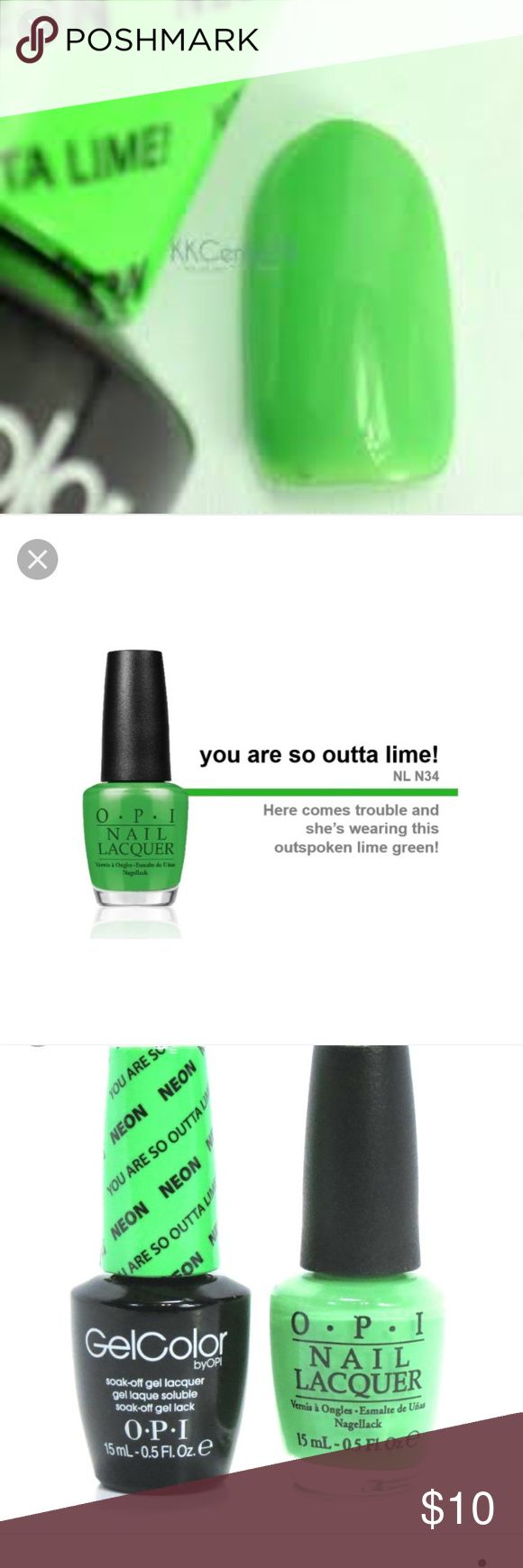 OPI Soak Off Gel Neon Green NEW You are so outta Lime! Is the color, kinda a neon but more toned down. I was looking for a different shade. Only used once. The OPI Gel Nail Polish is part of the OPI Gel Nail Polish collection also known as the OPI Axxium Soak Off Gel Nail Collection. The OPI Gel Nail Polish is made to last the minimum of two weeks. Use with a UV nail light, OPI soak-off gel base and OPI soak-off gel sealer. Made in USA. opi Makeup