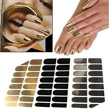 USD $ 3.39 - 48pcs Manicure Sticker Decal Gold Silver Black Metal Sticking, Free Shipping On All Gadgets!