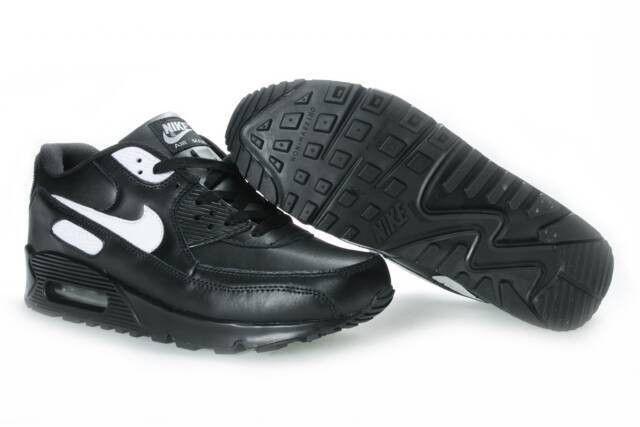 free shipping 22da4 aeb58 ... Vente pas cher Nike Air Max 90 Homme Chaussures Noir Avec Blanche Logo  France La Vente ...