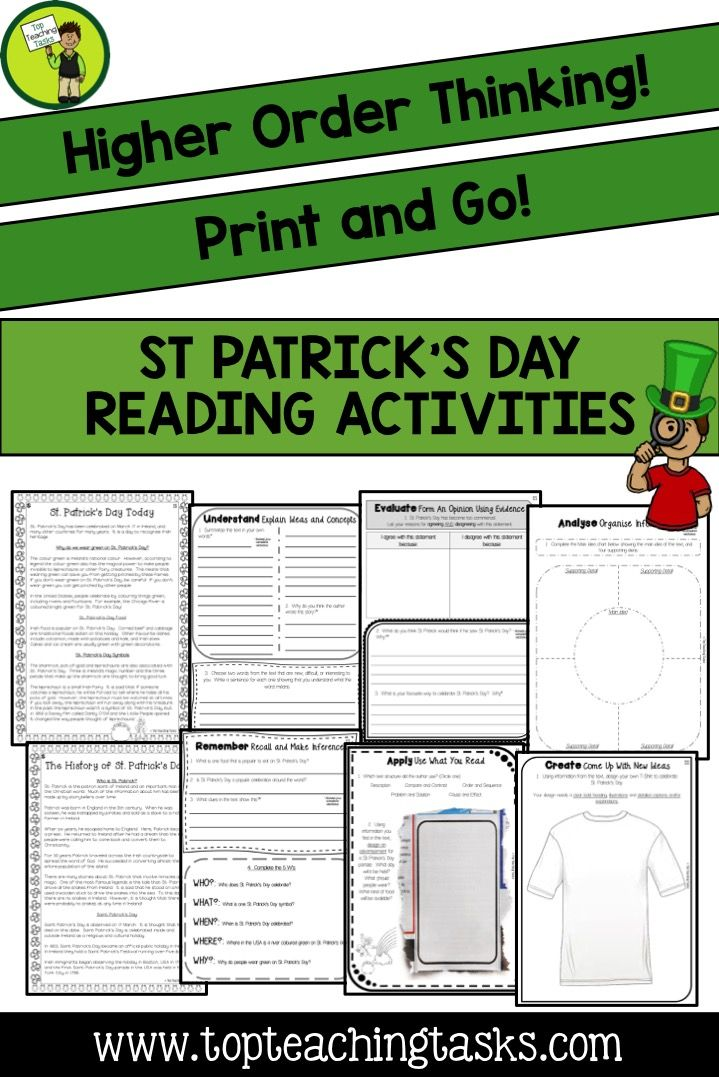 Let us save you time this St. Patrick's Day! These Grade Four and Grade Five (Year Five and Six) St. Patrick's Day-themed close reading passages will engage your students while reinforcing important reading skills - great reading comprehension activities!  This resource would also be suitable for Grade 6 (Year Seven and Eight learners) as the higher order thinking activities will keep them challenged and engaged! www.topteachingtasks.com