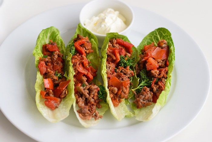 Mexican lettuce wraps (low FODMAP, gluten-free and lactose-free)