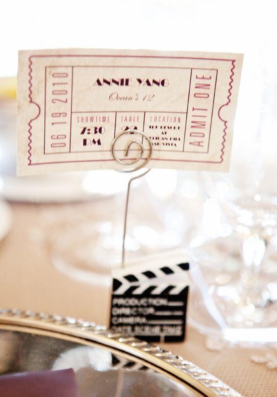 Marque place clap de ciné et ticket vintage, mariage cinéma