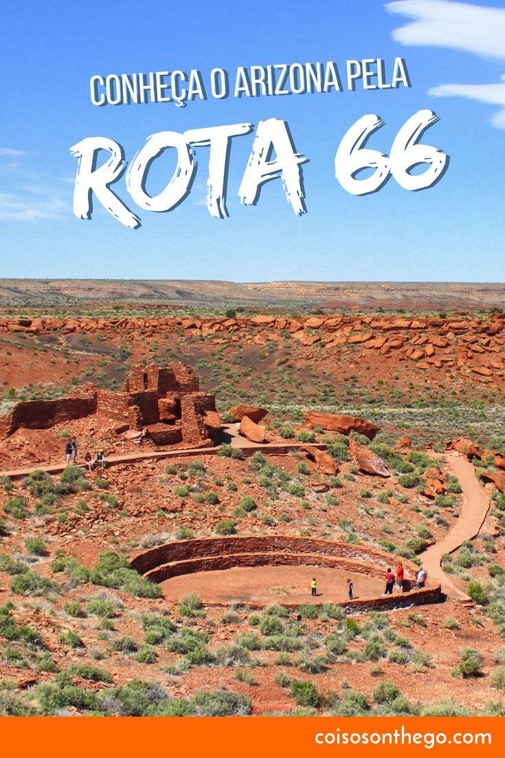 Conheça o Arizona pela Rota 66: o estado está repleto de rotas cênicas que levam você a vários monumentos, belezas naturais, lindas paisagens e imensos desertos. Na foto, ruínas do Wupatki National Monument