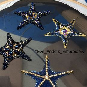 """448 отметок «Нравится», 9 комментариев — Eve Anders (@eveanders) в Instagram: «Эти потрясающие морские звезды - работы ученицы нашего онлайн курса """"Художник по вышивке"""" Олеси…»"""
