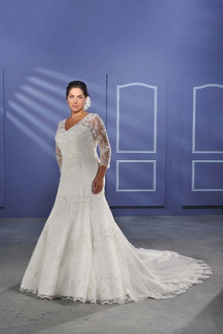 Modest A Line V Neck Appliques Court Plus Size Wedding Dress With Sleeves. Loving the more lace of this dress!!!