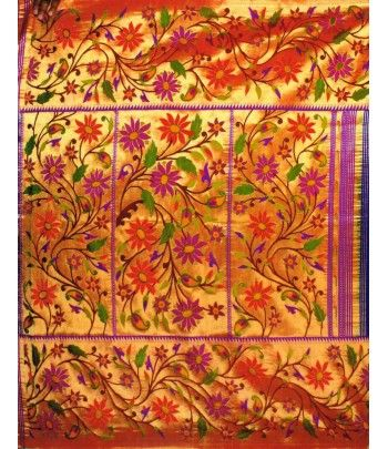 Colorful flower work Handloom Paithani Saree