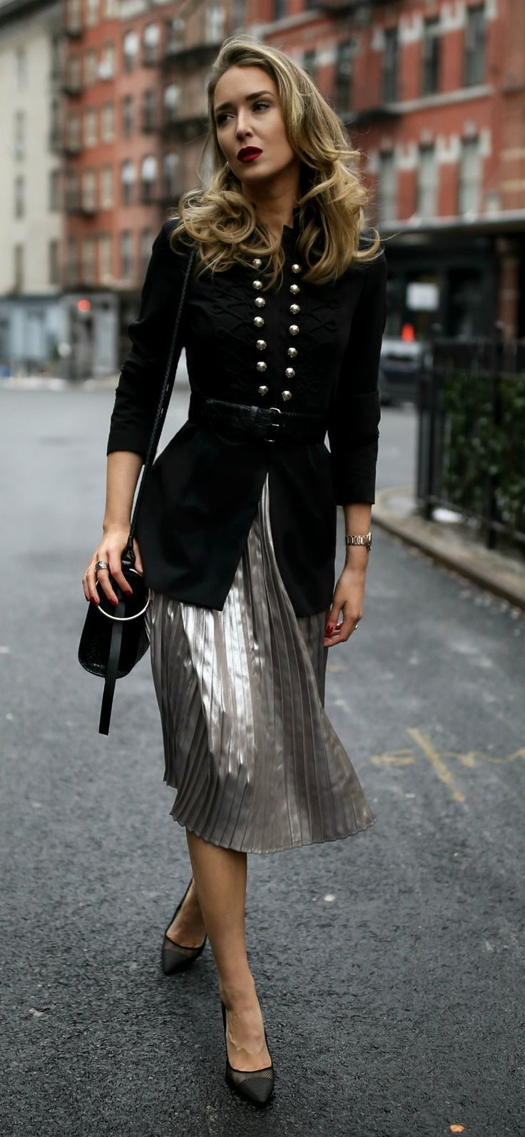 Military-inspired details! // Pleated metallic midi skirt, military-inspired jacket with a black embossed waist belt, black shoulder bag, and black pumps {Tommy Hilfiger, Steve Madden, holiday style, classic style, workwear, what to wear, winter outfits,