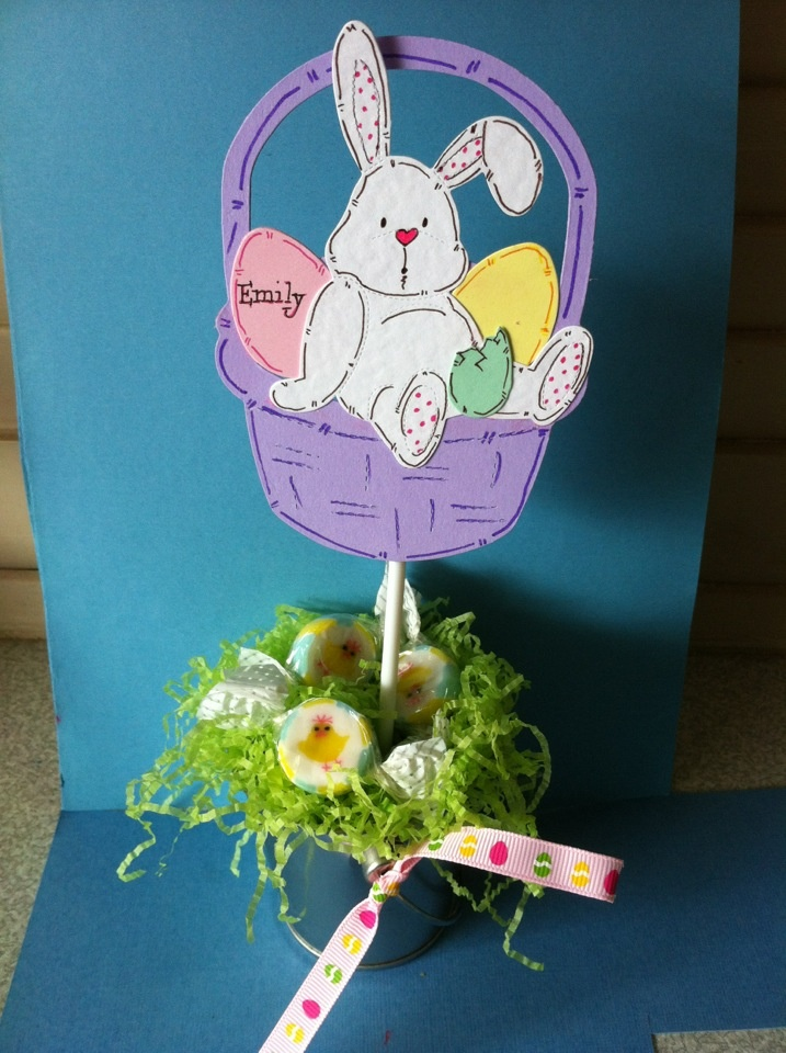 Personalised Easter table centre pieces.