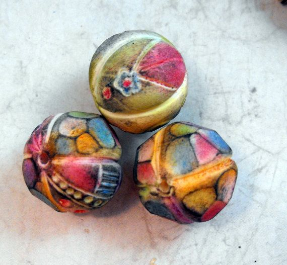 3 Colorful Artisan Beads Handmade from Polymer by MargitBoehmer