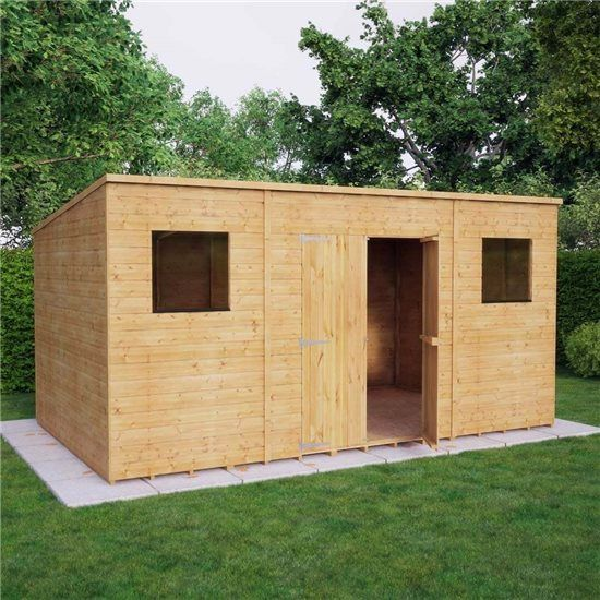 Pent Range Wooden Shed Shiplap Cladding Central Double Doors - Wooden Sheds - Garden Buildings Direct