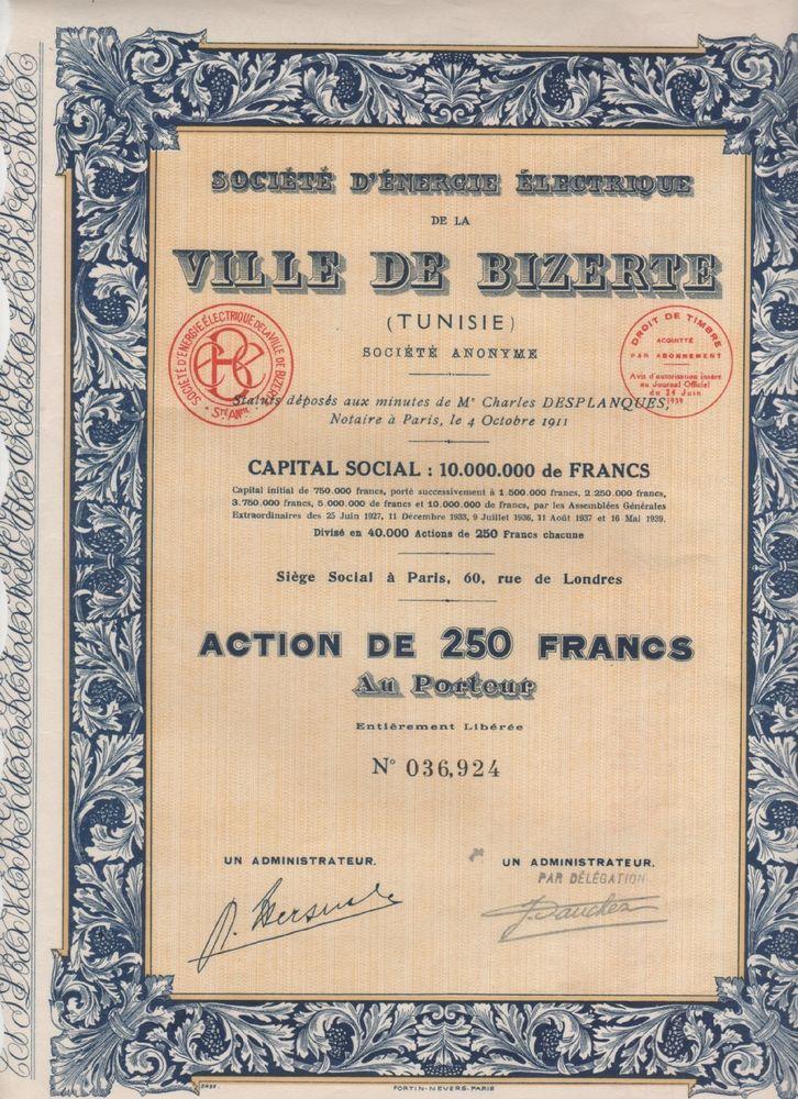 TUNI-VILLE de BIZERTE. ENERGIE ELECTRIQUE. Action 1939