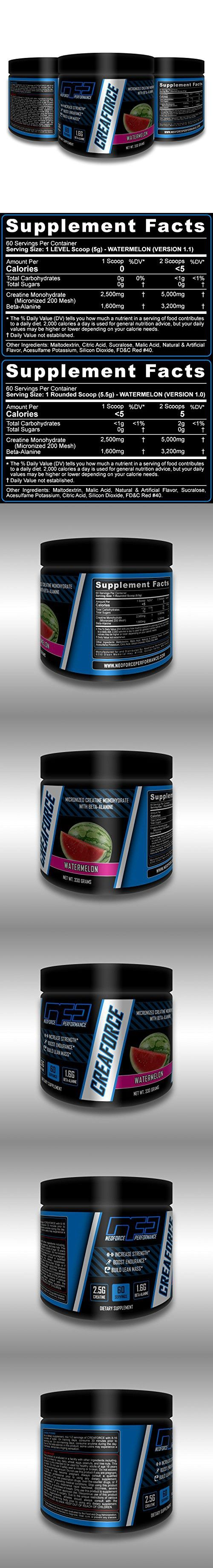 NeoForce CREAFORCE Micronized Creatine Monohydrate and Beta-Alanine - 60 Servings (300 Grams) of Watermelon Flavor | Supports Strength, Endurance, and Lean Mass | 30-Day Money Back Guarantee