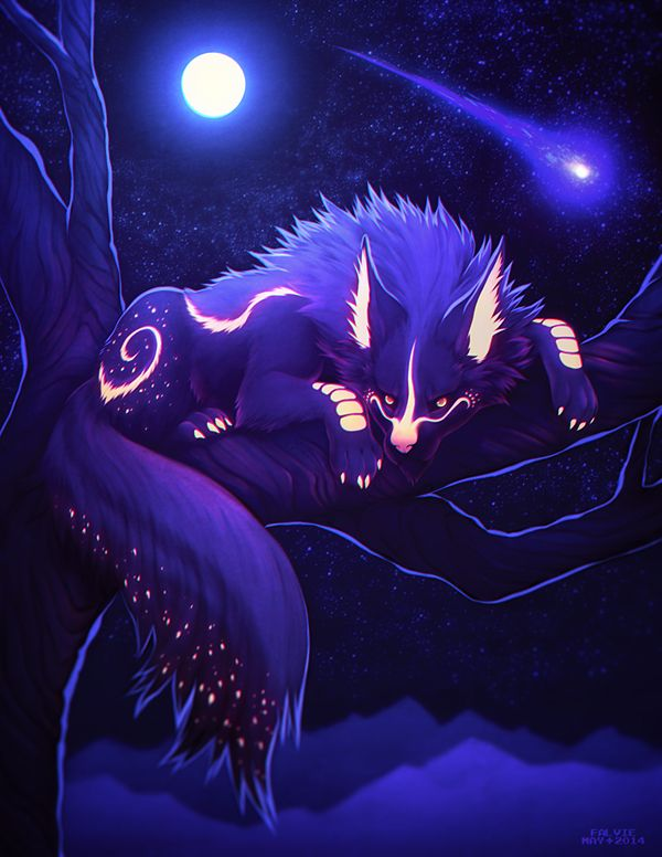Stare is her name because she stares up at the sky as the moon shimmers on her purple fur and brings out all of her delicate patterns