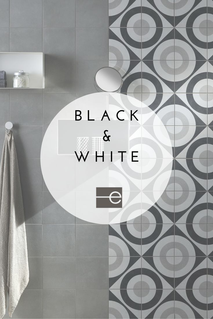 Modern black & white patterned tile