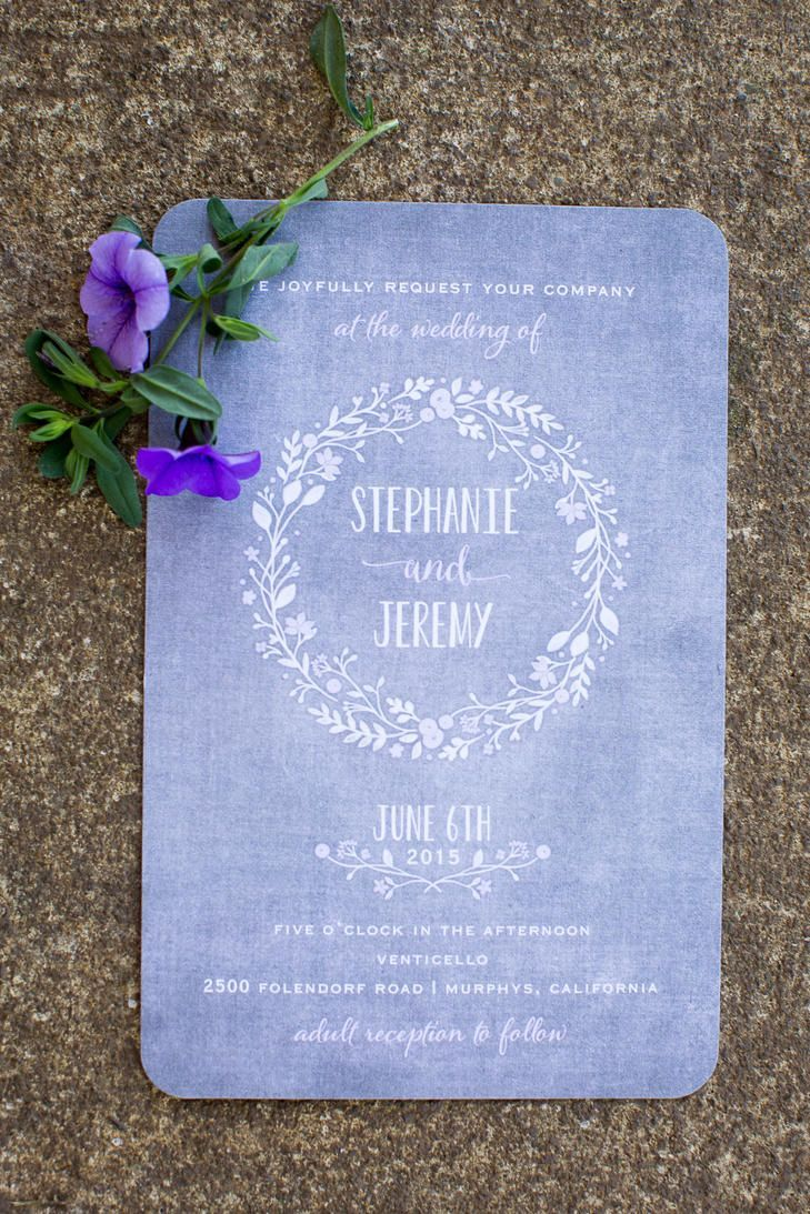 Periwinkle and White Wedding Invitation