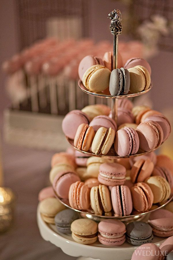 Macarons | Dessert Tablescape | Pink & Cream California Wedding | Wedluxe