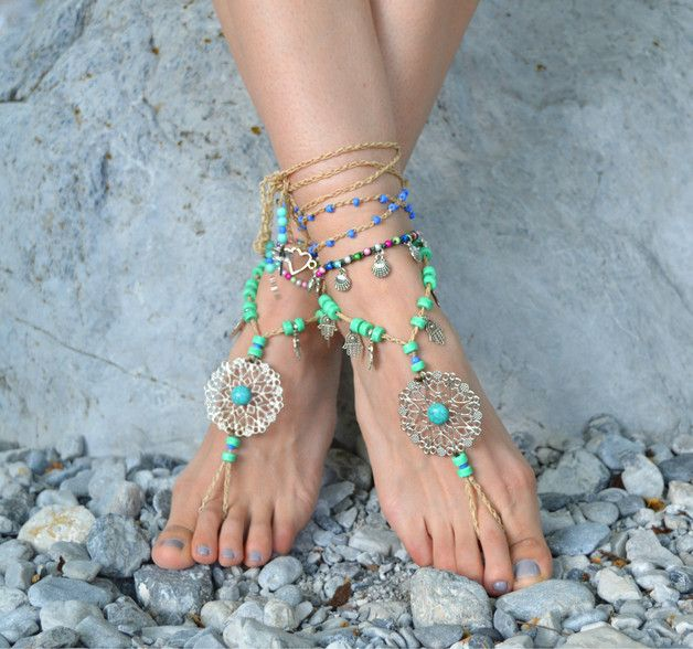 Sandals – barefoot sandals, crochet barefoot, beach anklets, – a unique product by santorinibarefoot on DaWanda