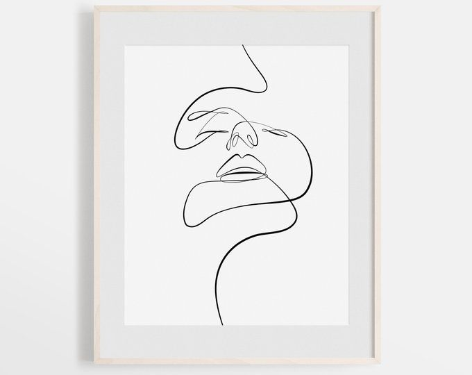 Woman One Line Drawing Face Figure Abstract Simple Line Sketch