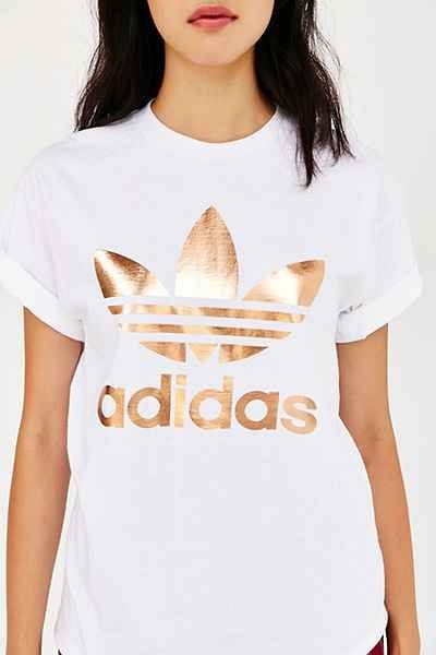 Really, really want this!! adidas Rose Gold Double Logo Tee in size Medium - Urban Outfitters, $35.00