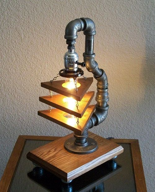 Industrial Art Table Desk Lamp on Wheels by Splinterwerx on Etsy, $215.00