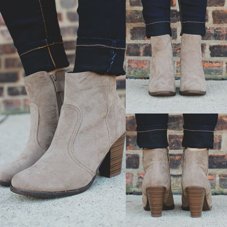 Beige Faux Suede Round Toe Chunky Heel Bootie – UOIOnline.com: Women's Clothing Boutique
